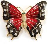 Avalaya Oversized Gold Red Enamel Butterfly Brooch