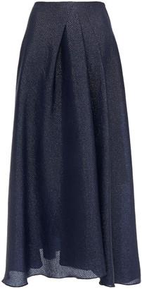 Roland Mouret Mulligan Pleated Metallic Cloque Midi Skirt