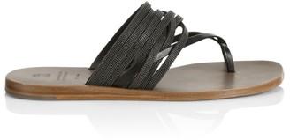 Brunello Cucinelli Monili-Trimmed Leather Toe-Loop Sandals