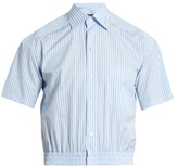 Balenciaga Striped Cotton-poplin Cropped Shirt