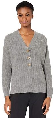 Madewell Jojo Rib Henley Sweater (Heather Grey) Women's Clothing