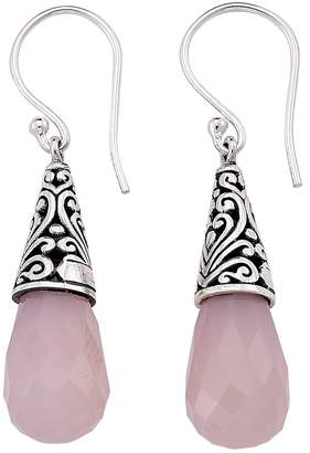 Samuel B. Sterling Silver Filigree Rose Quartz Stone Drop Earrings