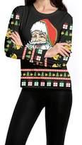 SEBOWEL Ugly Christmas T-Shirt Women's Santa Deer Printed Crew-Neck Pullover Sweater
