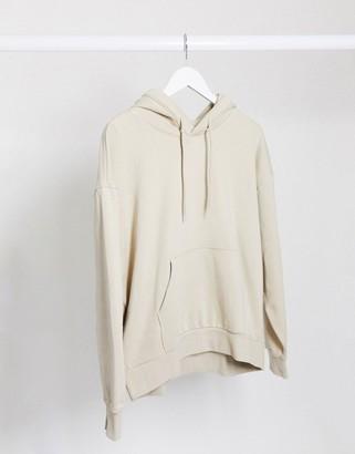 Weekday Alisa organic cotton oversized hoodie in beige