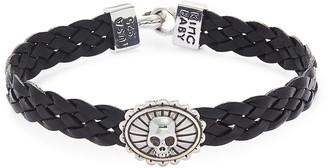 King Baby Studio Sterling Silver Leather Braided Skull Bracelet