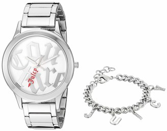 Juicy Couture Black Label Women's Silver-Tone Watch with Swarovski Crystal Accented Charm Bracelet JC/1147SVST