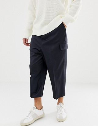 Asos Design DESIGN drop crotch tapered smart pants in navy wool with cargo pockets