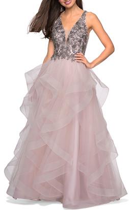 La Femme Sleeveless A-Line Tulle Gown w/ Beaded Bodice & Deep V-Neck