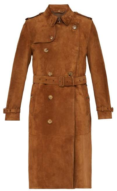 bright in luster detailed pictures performance sportswear The Kensington Suede Trench Coat - Mens - Brown