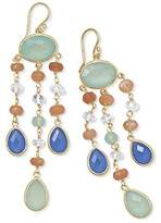 """PEOR Precious Metals Corporation 14 Karat Gold Plated Multistone Drop Earrings 14 karat gold plated sterling silver french wire drop earrings with chalcedony, quartz crystal and moonstone. Triple strands of 6mm peach moonstone, 5mm clear quartz crystal, 8mm x 14mm blue chalcedony and 9mm x 15 aqua chalcedony drop from an oval 10mm x 15mm faceted aqua chalcedony. The earrings hang approximately 3.25"""". .925 Sterling Silver"""