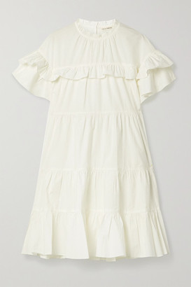Ulla Johnson Leonie Ruffled Cotton-poplin Mini Dress - White