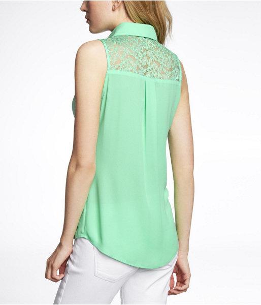 Express Sleeveless Lace Back Portofino Shirt