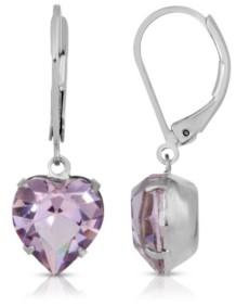 2028 Lt Amethyst Swarovski Crystal Heart Drop Earrings
