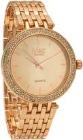 MC M&c Ferretti Women's | Classy Rose Gold Metal Bracelet & Rhinestone Accented Bezel | FT14101