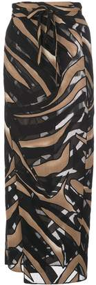 Lisa Marie Fernandez Zebra Print Wrap Midi Skirt