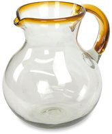 Novica Handblown Recycled Glass Pitcher, Brown, 'Amber Harmony'