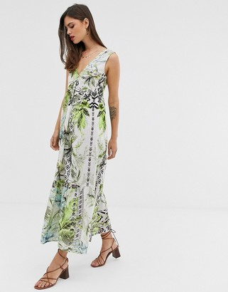 Asos DESIGN maxi dress with pephem in tropical print