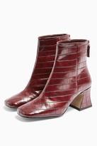 Topshop Womens Considered Vienna Vegan Burgundy Flared Boots - Burgundy