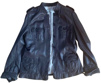 Gerard Darel Brown Leather Leather Jacket for Women