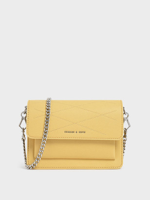 Charles & Keith Top Stitch Detail Crossbody Bag