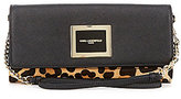 KARL LAGERFELD PARIS Saffiano & Leopard-Print Haircalf Clutch