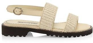 Manolo Blahnik Capri Woven Slingback Sandals