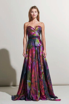 Rene Ruiz Collection Strapless Floral Print Evening Gown