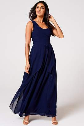 N. Rock Roll Bride Rock Roll Bride Libra Navy One-Shoulder Maxi Dress
