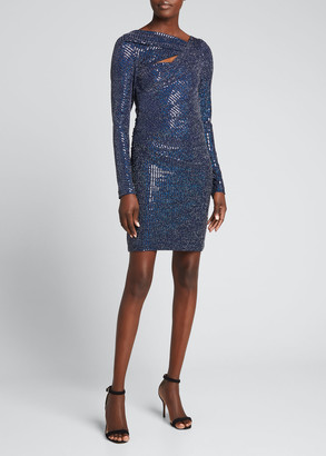 Talbot Runhof Sequined Cutout Long-Sleeve Mini Dress
