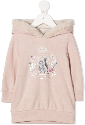 Lapin House Fur-Trimmed Hoodie Dress
