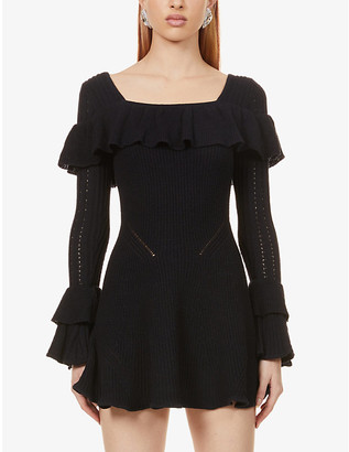 Self-Portrait Square-neck frill-trim cotton-blend knitted mini dress