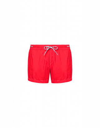 Moschino Logo Lace Nylon Beach Shorts Man Red Size L It - (m Us)