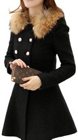 ShangYi Sexy Women Slim Jacket Wool Faux Fur Trench Parka Double-Breasted Winter Coat