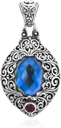Shop Lc 925 Sterling Silver Peacock Triplet Quartz Ruby Pendant Ct 9.53