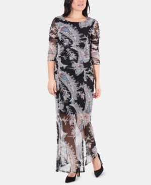 NY Collection Printed Double-Slit Maxi Dress