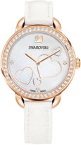 Swarovski Women's Swiss Aila Day Crystal and Heart Accent White Leather Strap Watch 37mm