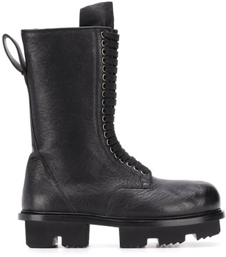 Rick Owens chunky track-sole laced boots