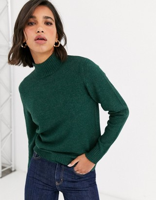 Vila knitted jumper with roll neck in dark green