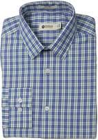 Haggar Men's Bold Check Point Collar Regular Fit Long Sleeve Dress Shirt