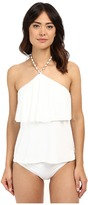 MICHAEL Michael Kors Chain Solids Cascading Halter Tankini Top