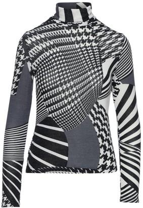 Conquista Black Print Long Sleeve Knit Polo Neck Jumper