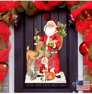 Designocracy by Susan Winget Woodland Frosty Santa Outdoor Wall and Door Decor