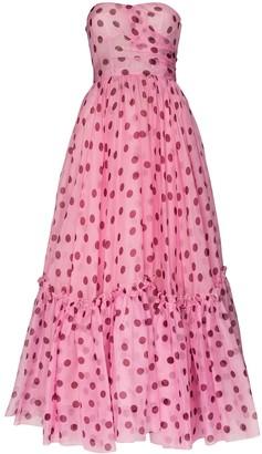 Dolce & Gabbana strapless polka-dot silk-chiffon dress
