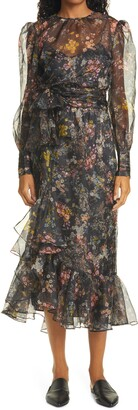 Cinq à Sept Marianne Floral Long Sleeve Silk Chiffon Dress