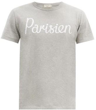 MAISON KITSUNÉ Parisien-print Cotton-jersey T-shirt - Grey
