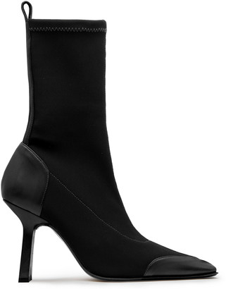 Miista Noelle Leather-Trimmed Stretch-Knit Boots
