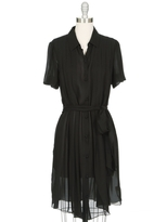 L'Agence Pleated Shirt Dress With Puff Sleeves