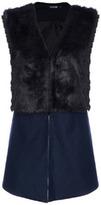 Romwe Sleeveless Black Dual-tone Faux Fur Coat