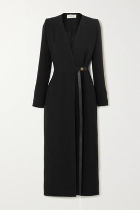 The Row Vana Belted Silk-cady Wrap Dress - Black