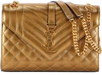 Saint Laurent Medium Monogram Metallic Shoulder Bag